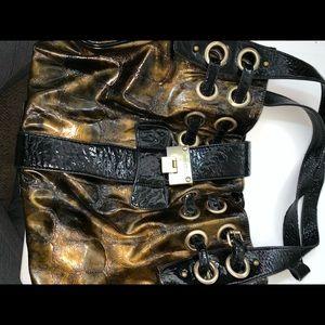 Jimmy choo black and gold hobo purse